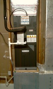 In-line float switch installed on upflow air handler