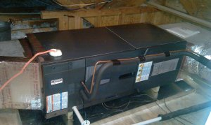 American Standard ForeFront Air Handler installed over sheetmetal auxiliary drain pan
